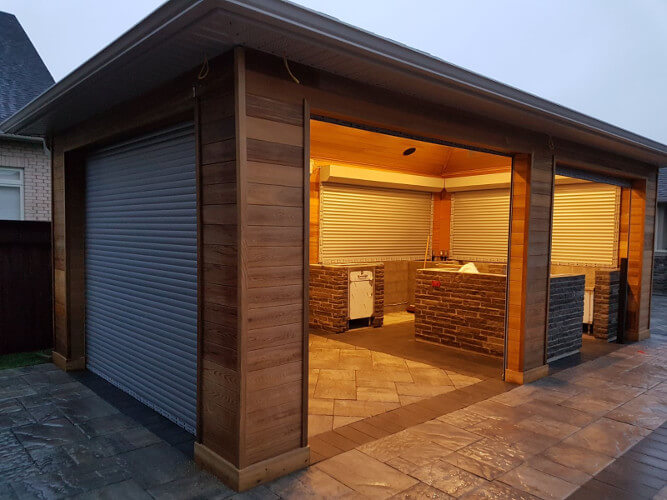 outdoor cabana with roll up shutters