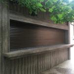 patio shutters brown