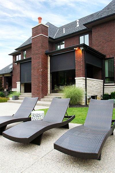lawn chair on backyard