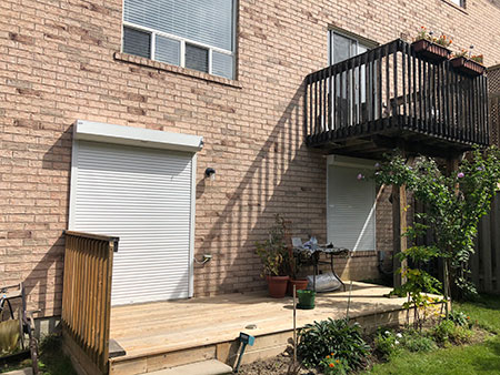 Backyard with security shutters