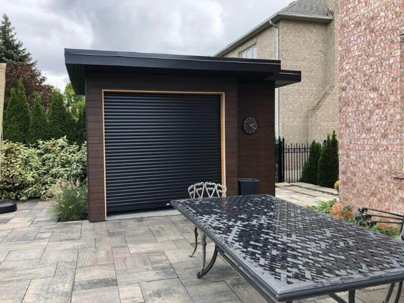 dark brown patio shutter on shed