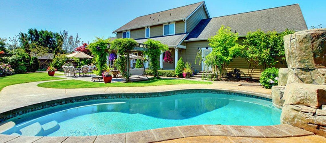 Home backyard with pool oasis
